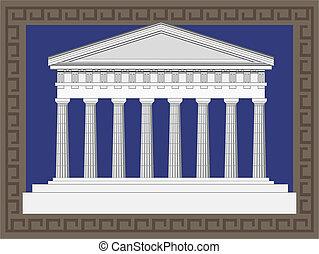 antikvitet, grek, tempel