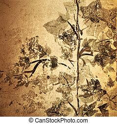 antikvitet, grunge, sepia, -, struktur, bakgrund, blommig,...