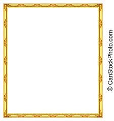 antikvitet, gyllene, ram, isolerat, på, svart fond, snabb bana