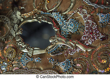 antikvitet, gyllene, tillbehör, jewelry:, lyxvara, spegel, orientalisk