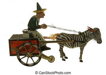antikvitet, häst, leksak, konservburk, buggy