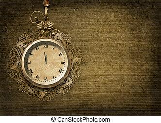 antikvitet, klocka vett, med, spets, och, gran, på, den,...