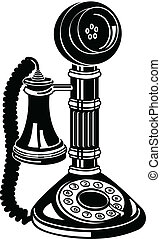 antikvitet, konst, klippa, telefon, ringa, eller