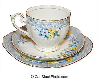 antikvitet, kopp tefat, och, tallrik