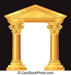 antikvitet, korinter, realistisk, grek, tempel, kolonner