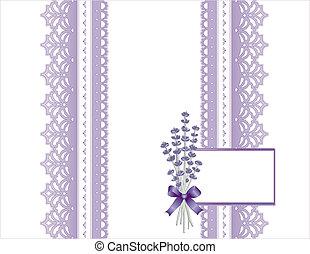 antikvitet, kort, spets, lavendel blomma