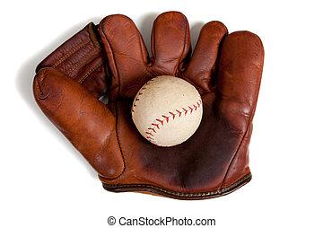 antikvitet, läder, baseballhandske, och, boll