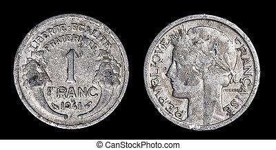 antikvitet, mynt, av, 1, franc