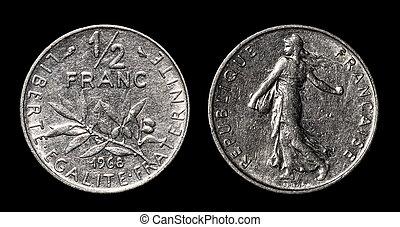 antikvitet, mynt, av, 1/2, franc