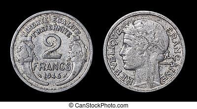 antikvitet, mynt, av, 2, francs