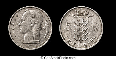 antikvitet, mynt, av, 5, francs