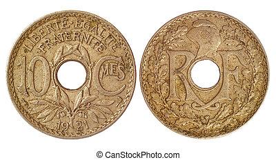 antikvitet, mynt, av, frankrike