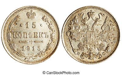 antikvitet, mynt, av, ryssland, 1915, år