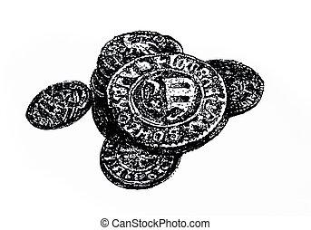 antikvitet, mynter, gammal
