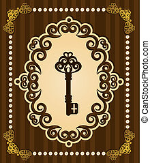 antikvitet, nyckel, gobeläng, bakgrund.