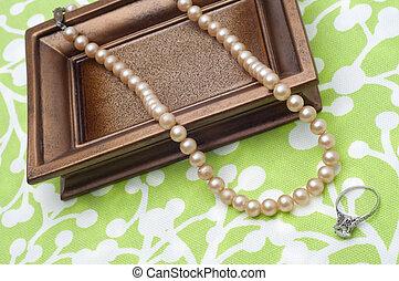 antikvitet, pärlor, och, diamant anställning ring