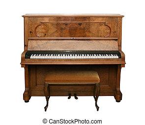 antikvitet, piano, med, bana