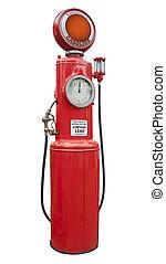 antikvitet, pump, gas, isolerat, röd