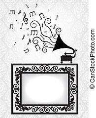 antikvitet, ram, grammofon