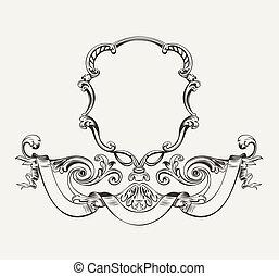 antikvitet, ram, hög, lyxvara, utsirad, baner