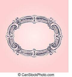 antikvitet, ram, på, rosa