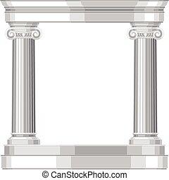 antikvitet, realistisk, grek, jonisk, tempel, kolonner