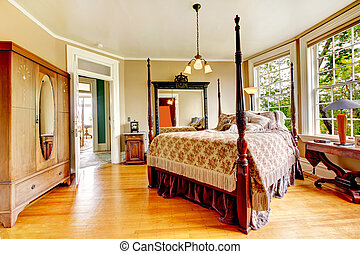 antikvitet, rum, -, bed., stort, gästgivargård, historisk, sovrum, inre