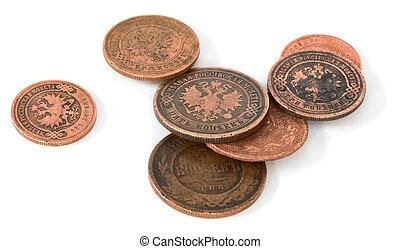 antikvitet, rysk, mynt, brons