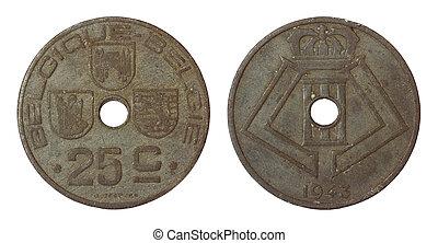 antikvitet, sällsynt, mynt, av, belgien