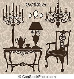 antikvitet, sätta, möblemang