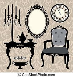 antikvitet, sätta, objekt, möblemang