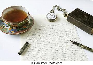 antikvitet, skrift, scen