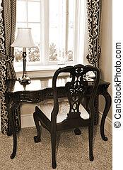 antikvitet, skrivbord, och, stol
