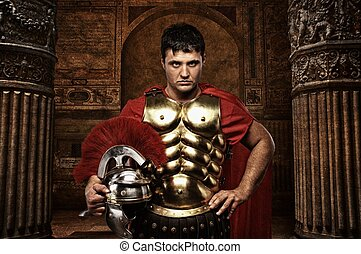 antikvitet, soldat, romersk, mot, anläggning.