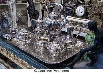 antikvitet, te satte, silver
