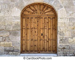 antikvitet, trä, sten, dörr, vägg