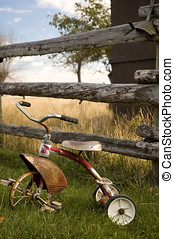 antikvitet, trehjuling, 2