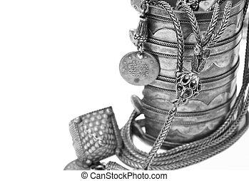 antikvitet, turkisk, armband, och, necklace.