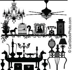 antikvitet, utsmyckning hemma, möblemang