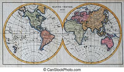 antikvitet, värld, original, karta