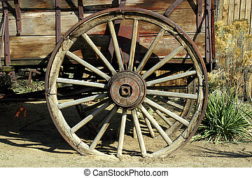 antikvitet, vagn, gammal, hjul
