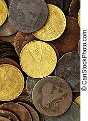 antikvitet, verklig, gammal, spanien, republik, 1937, valuta, mynt, peseta