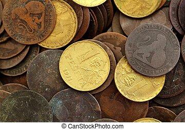 antikvitet, verklig, peseta, gammal, valuta, 1937, republik, mynt, spanien