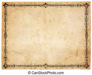 antikvitet, viktorian, papper, gräns, tom