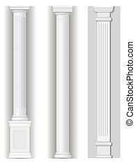 antikvitet, vit, kolonner, klassisk