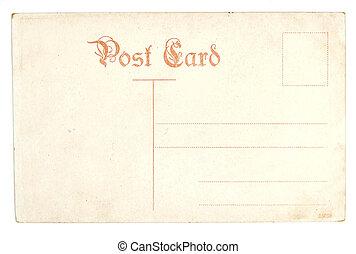 antikvitet, vykort, gammal, tom