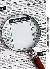 antikviteter, försäljning, annons