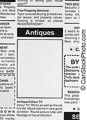 antikviteterne, omsætning, reklame.