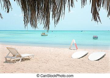 antilles, île, paume, mer, aruba, plage