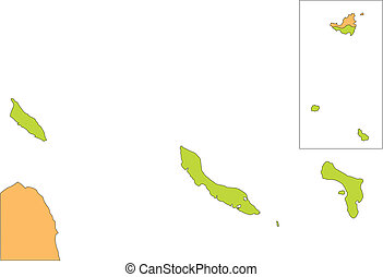 Antilles and Aruba Islands, editable vector map broken down by administrative districts, in color, all objects editable. Great for building sales and marketing territory maps, illustrations, web graphics and graphic design.